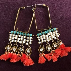 Anthropologie Orange & Turquoise Tassle Earrings